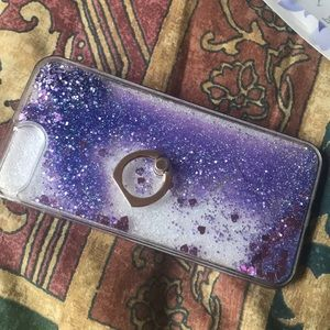 iPhone 7 Plus floating glitter case with stand